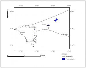 Figure 4 - Cartographie de la distribution spatiale des points sources de pollution des eaux de la nappe urbaine de Dakar: d'ouest en est, la zone d'inondation d'Hann Maristes (1), le cimetière de Thiaroye (2), le foirail (3) et la décharge de Mbeubeuss (4)