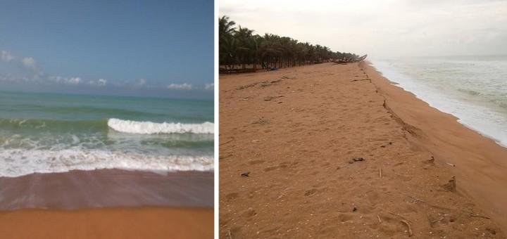Photo 1 - Phénomène de la dérive littorale à Grand-Popo (1) et à Ollongo (2)